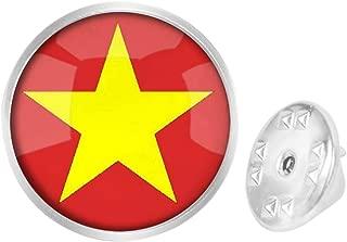 Round Metal Tie Tack Hat Lapel Pin Brooches Socialist Republic of Vietnam National Flag Banquet Badge Enamel Pins Trendy Accessory Jacket T-Shirt