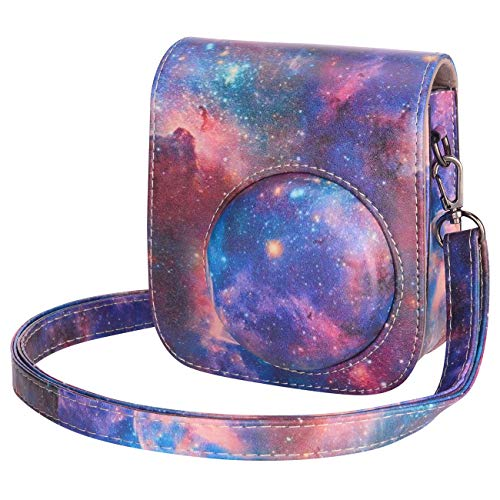 Tiessic Instax Mini 11 Case Compatible with Fujifilm Instax Mini 11 Instant Camera with Shoulder Strap and Pocket - Galaxy