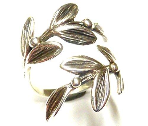 Ringe für Frauen, Silberring, Bandring offen, Motiv Mistelzweig mit Gravur, aus 925 Sterling Silber gearbeitet, Größenvariabel, Geschenk, Schmuck