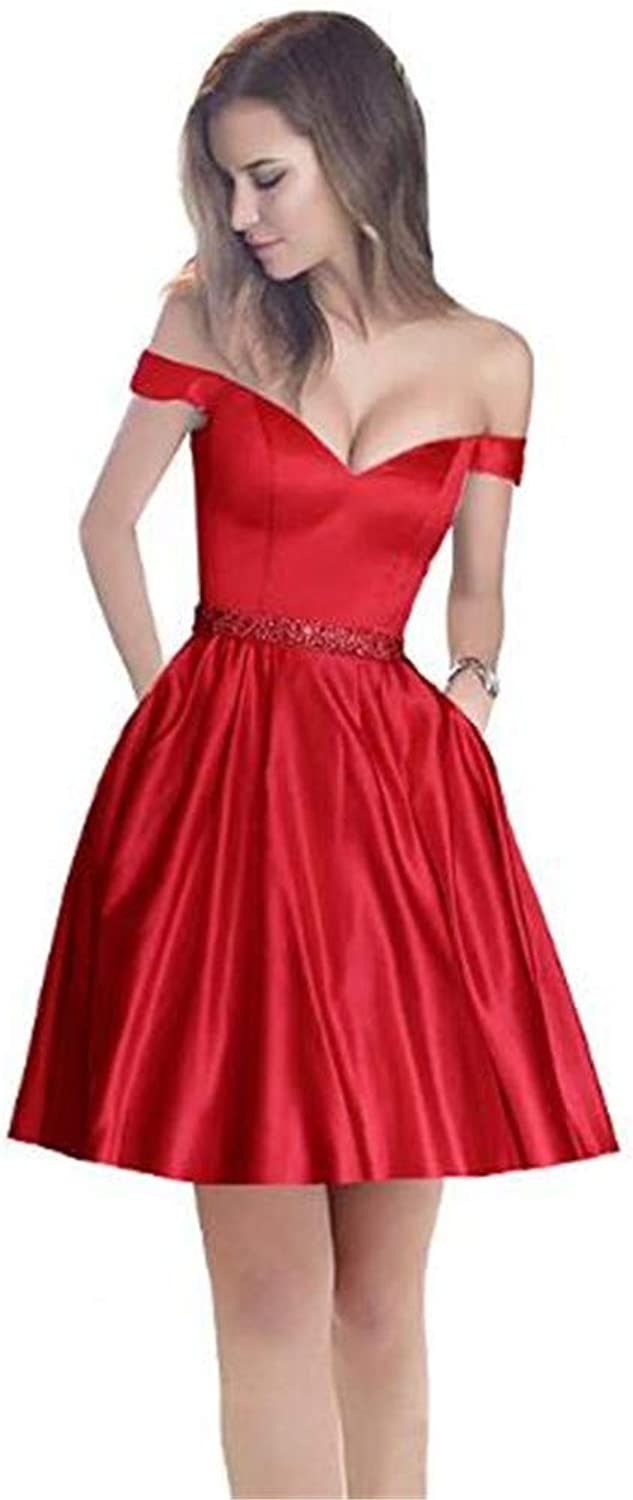 Yuki Isabelle V Neck Off The Shoulder Beaded Prom Dress Short Homecoming Party Dresses with Pockets