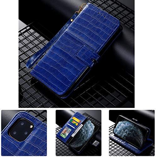 SevenPanda Krokoprägung Wallet Case Kompatibel Hua Wei P40 Pro, PU Ledertasche mit Kickstand/Magnetverschluss/Kartensteckplatz (Blau)