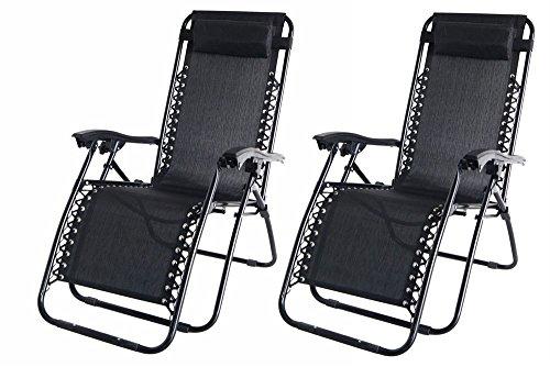 Garden Market Place Set de 2–Tumbona de jardín Tumbona reclinable sillas–en Negro Resistente al Agua Textoline