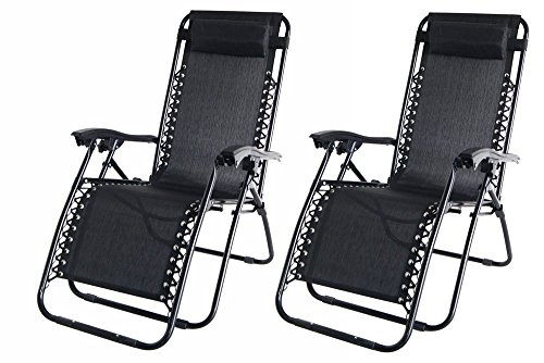 SET OF 2 Garden Sun Lounger Relaxer Recliner Chairs - in Black Weatherproof Textoline With Adjustable Headrest and Multiple positions