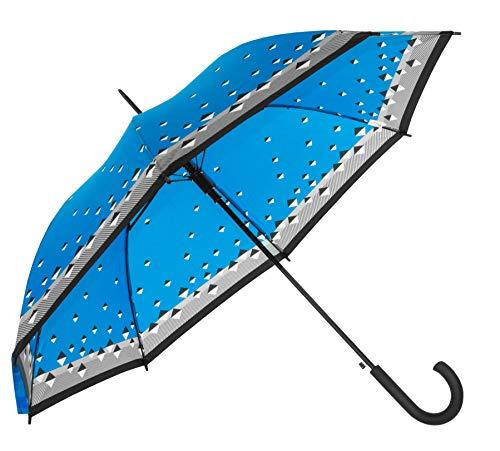 Baciami Regenschirm Herren & Damen - Großer Stockschirm mit AUF-Automatik, Wind- und Sturmfest, ⌀ 90cm, Triade Blau