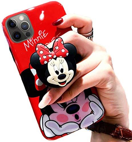 3D Cute Cartoon Soft Silicone Protector Case Gel Shockproof Phone Cover & Hand Holder Bracket Stand ~ Estuche Fundas Cobertor (Minnie, iPhone 8 Plus)