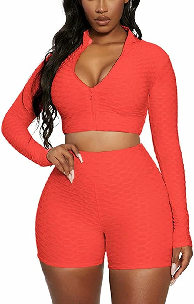 CQWL Womens 2 Piece Jogger Sets Long Sleeve Textured Zipper Crop Top and Skinny Shorts Tracksuit