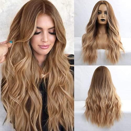 Esmee Perruque Ombre Brune Racine Blonde de 24 pouces, perruque synthétique résistante à la chaleur naturelle longue ondulée pour femmes (sans frange)