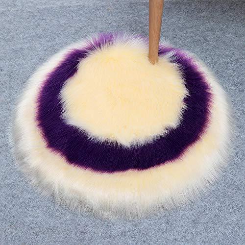 Chuanganja tapijt, rond, voor woonkamer, antislip, geometrische naden, 45 x 45 cm, beige, violet