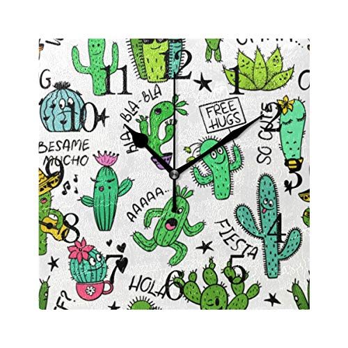 GIGIJY - Reloj de pared cuadrado con diseño de cactus, silencioso, sin tictac, para el hogar, sala de estar, cocina, dormitorio, escritorio, oficina, escuela