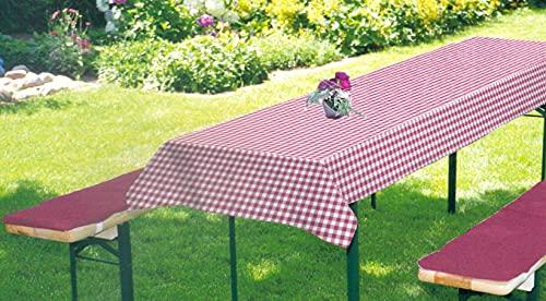 BRANDSSELLERBierbankauflagen-Set passend für gängige Biertische und Bänke 2 gepolsterte Bankauflagen je ca. 220x25x 2 cm und 1 Tischdecke 240x70cm Rot/Kariert