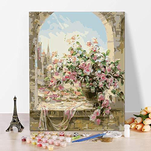 DMLGQ DIY digitaal schilderij, olieverfschilderset, zelfgemaakte decoratie, schilderdoek, 40 x 50 cm, vensterbank bloempot Frameloos