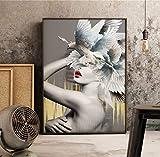 tgbhujk Wandbild Mädchen und Taube Poster Home Decoration