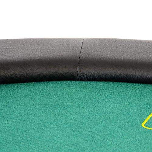 Nexos Profi Casino Pokertisch klappbar Rund Ø 120 cm; 4 in 1 Spiele: Poker, Roulette, Black Jack, Craps inkl. Karten, 100 Chips und Zubehör - 6