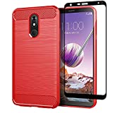 Sfmn Case for LG Stylo 5 Case with Tempered Glass Screen Protector, Slim Soft TPU Protective Rubber Bumper Case Cover for LG Stylo 5 Phone Case (Red+Screen Protector)