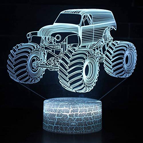 Luz de automóvil todoterreno con luz nocturna colorida para luz de habitación Lámpara de escritorio pequeña LED 3D Interfaz USB Luz de control remoto táctil Luz de noche colorida