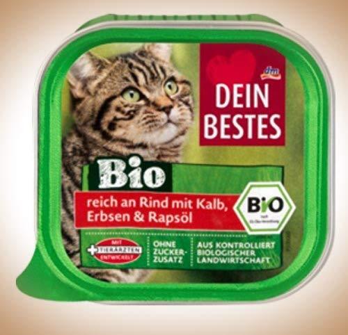 Dein Bestes Bio Nassfutter für Katzen, reich an Rind mit Kalb, Erbsen und Rapsöl, 12er Pack (12 x 100 g)