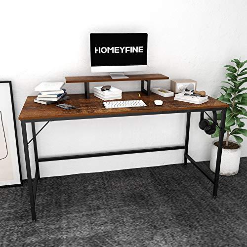 JOISCOPE Escritorio de Computadora, Mesa de Computadora Portátil con Almacenamiento para Controlador, 55 Pulgadas, Madera y Metal, Mesa de Estudio para Oficina en Casa (Acabado de Roble Vintage)