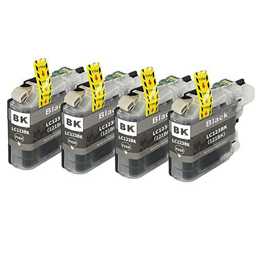 SXCD Cartucho de Tinta LC123 para Brother, Reemplazo para MFC-J4610DW J4710DW J470DW J6920DW DCP-J4110DW J132W Cartuchos de Impresora de Alto Rendimiento Compatible 4 Col Black x 4