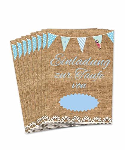 Einladungskarten zur Taufe für Jungen im Vintage Look/süße Einladung in Pastell/süße Einladungen für Tauffeier 8 Stück im Set (Taufeinladungen Vintage blau)