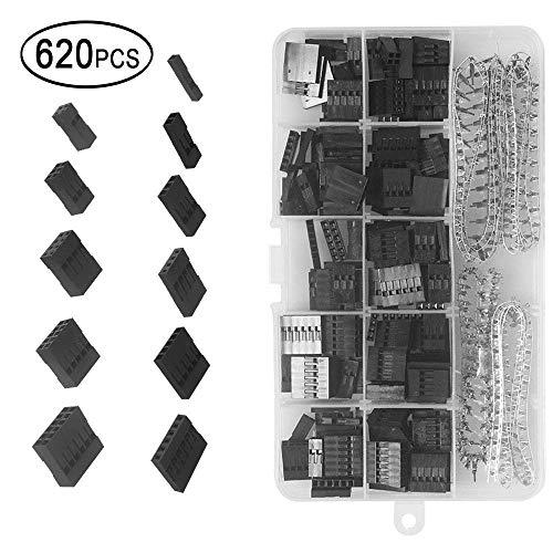 620 stuks 2,54 mm Pitch 1 2 3 4 5 6 Pin JST SM behuizing connector dupont-buis-buisstrip krimp-aansluiting-stekker-assortiment-kit met doorzichtige kunststof doos