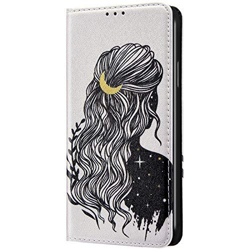 iKasus Compatible avec Coque Samsung Galaxy A70 Housse a Rabat,Protection Housse en Cuir Portefeuille Livre Etui avec Motif Papillon Fleur Chat PU Leather Case Cover,Fille