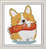 Funchey Cross Stitch Kits Stamped Full Range of Patterns Embroidery Starter Kits for Adult Beginners and Kids DIY Easy Printed Cross-Stitch Kits for Home Decor 11CT-Smiling Shiba Inu 6.7×7.1 inch
