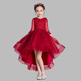 Luxury Puff Girls Princess Dress Beaded Bouquet Burgundy Yarn Short in Front Long Section of Flower Girl Dresses Little Girls Host Costumes Western Style Piano Performances ryq