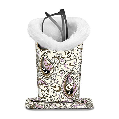 Fintie Plush Lined Eyeglasses Holder with Magnetic Base- PU LeatherGlasses Stand Case (ZA-Paisley Waves)