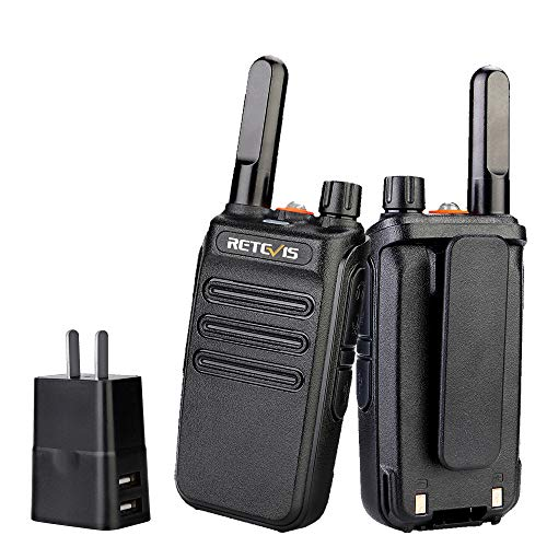 Retevis RB35 Walkie Talkies for Adults, Portable 2 Way Radios Long Range, Flashlight, VOX Handsfree, Small and Robust, Walkie Talkie Rechargeable with USB Charger, for Camping Road Trip (2 Pack)