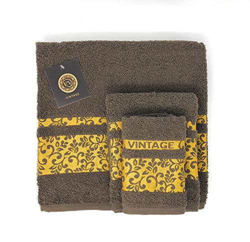Cabello Textil Hogar - Juego de Toallas 100% Algodón de 450 Gr/m2 - Vintage - 3 Piezas: Sábana de baño (100x150 cm) - Tocador (50x100 cm) - Bidet (30x50 cm) (Chocolate)