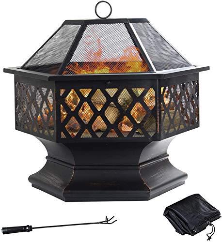 GRANDMA SHARK Sechseckige Feuerstelle aus Stahl, Feuerschale für Garten und Terrasse, Feuerstelle für den Außenbereich mit Netzabdeckung (schwarz)