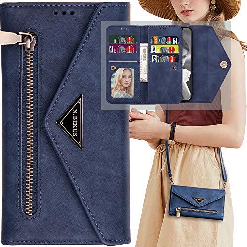 Auker - Funda tipo portafolios para Samsung Galaxy A50 con correa para mujer, 3 ranuras para 9 tarjetas, funda protectora de piel tipo portafolios con función atril y bolsillo...
