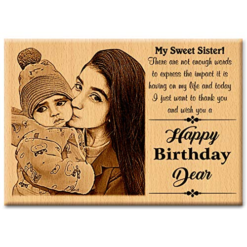 GFTBX Birthday Gift for Sister - Personalized Engraved Wooden Photo Frame with Photo Upload | Customized Gifts for Sister on her Birthday | Personalized Gifts for Birthday | Sister Gift (7x5in, Wood)