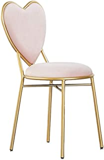 JHSLXD Love Shape Dressing Table Makeup Chair Gold Restaurant Iron Art Dining Chair Multipurpose Lounge Chair Armchair Girl Bedroom Decoration Reading Chair Furniture,Pink