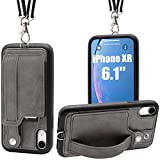 iPhone XR Necklace Case Lanyard Strap TOOVREN Xr iPhone Case Wallet Protective Cover with Stand Leather PU Card Holder Adjustable Detachable iPhone Lanyard for Apple iPhone XR 6.1 Inch (2018)