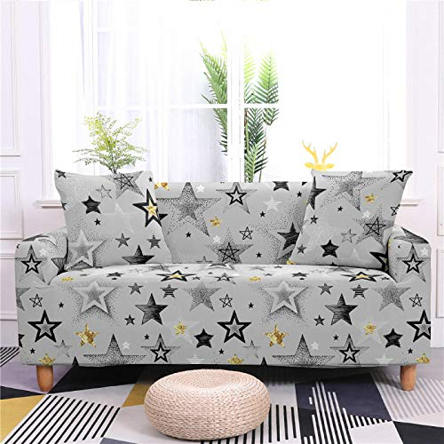 Stretch Covers For Sofa Couch Gray Gold Star Printed Elastic Spandex 1/2/3/4 Seater Sofa Cover Armchair Slipcovers Furniture Protector for Children Pet,1,seat 90,140cm