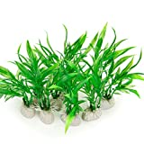 COMSUN 10 Pack Artificial Aquarium Plants, Small Size 4 inch Approximate Height Fish Tank Decorations Home Décor Plastic Green