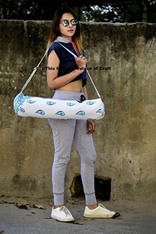 Mandala Hippie Indian Cotton Yoga Mat Carrier Bag with Shoulder Strap Pilate Bag White Floral - 7