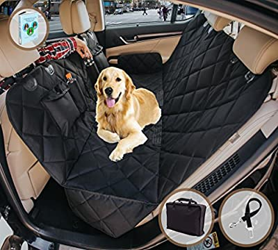 EVOest Dog Car Seat Cover, Pet Seat Cover for Cars/Trucks/SUV's, Hammock Convertible, 100% Waterproof Pet Back Seat Protector with Extra Side Flaps, Bonus Pet Seat Belt & Tote Bag