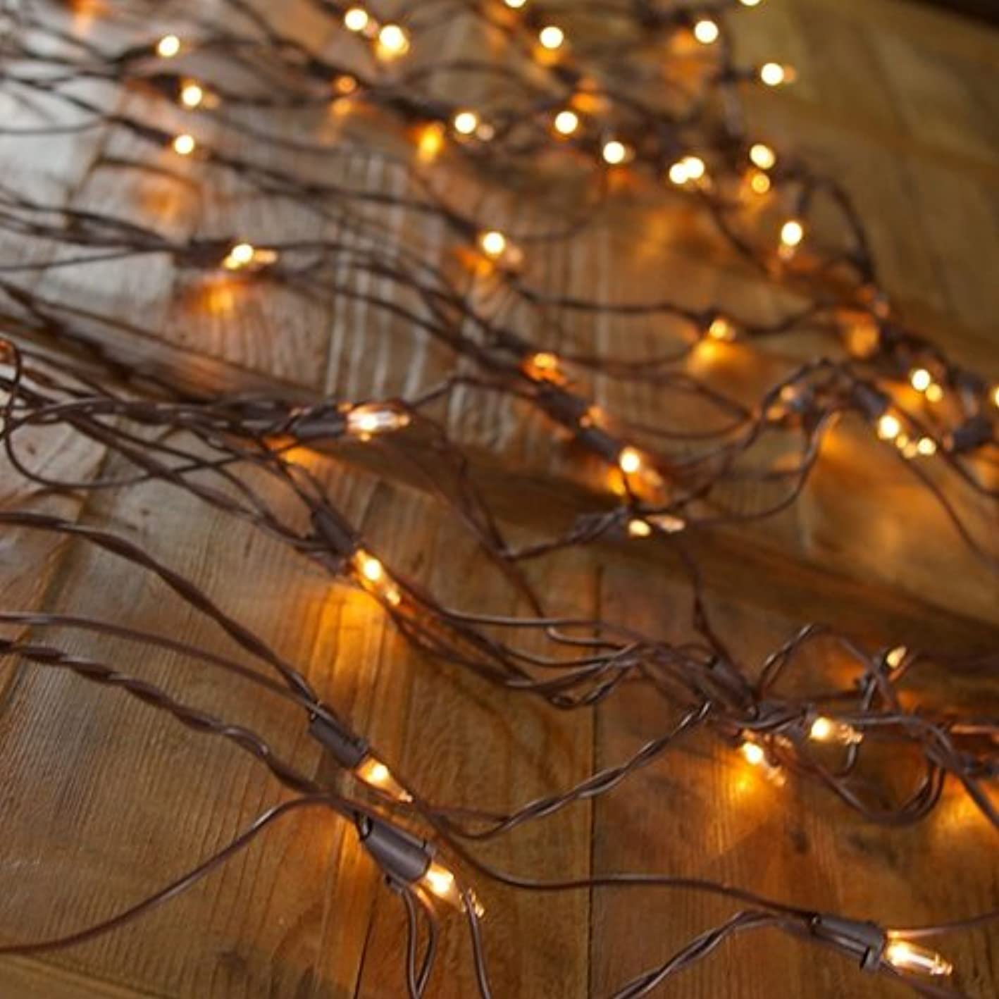 Net Light with Brown Wire, 150 Clear Lights (4 x 6) - Christmas/Wedding Style Tree Trunk Wrap