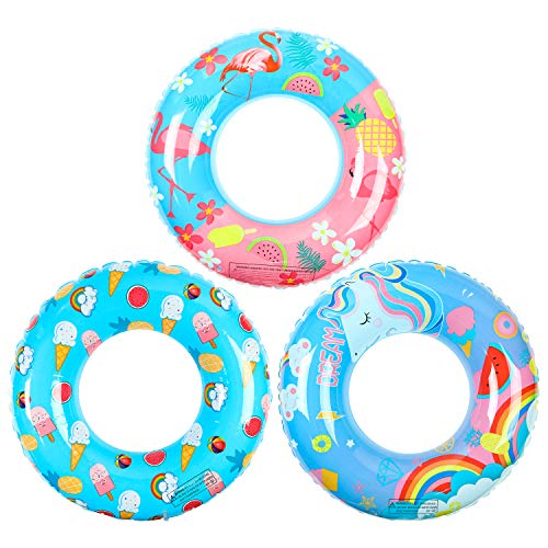 "R HORSE 3 Pack Swimming Rings for Kids Adults, Flamingo Unicorn Fashion Designed Inflatable Pool Floats, 31.5"" Swim Tube Ring Pool Toys for Summer Beach, Swimming Pool, Flamingo Party Decorations"