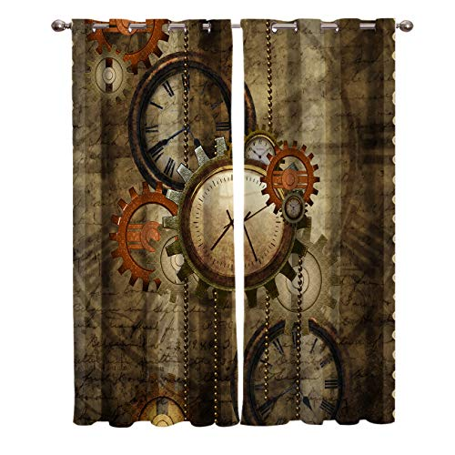 Edwiinsa Mechanical Kitchen Blackout Curtains Window Drapes Treatment, 2 Panels Set for Kitchen Cafe Office, Retro Steampunk Clocks and Gears Technology, 55W x 39L inch