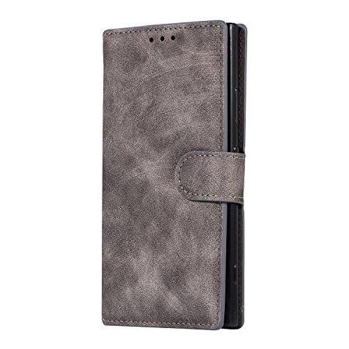 HongGXD per Sony XA2 XA2 Ultra Etro Portafoglio Multifunzione di Lusso Custodia in Pelle Magnetica a Flip con Slot per schede e Cornice per Foto e Supporto (Color : Gray, Size : for Sony XA2 Ultra)