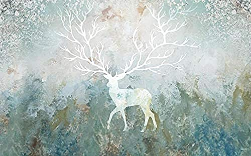 Vintage Abstract Oil Painting Elk Flower Wallpaper Wall Wallpaper Decoration 3D Wallpaper Paste Living Room The Wall for Bedroom Mural-400cm×280cm