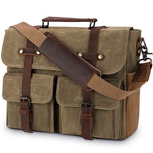 Aktentasche Herren Umhängetasche Leder Canvas Arbeitstasche Schultertasche für Herren, Laptoptasche Messenger Bag für 15,6 Zoll Laptop,Khaki
