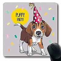 マウスパッド愛らしい茶色の犬お祝い子犬ビーグルパーティーハット誕生日記念日長方形7.9 X 9.5インチ滑り止めゲーミングマウスパッドラバー長方形マット