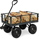 Best Choice Products Heavy-Duty Steel Garden Wagon Lawn Utility Cart w/ 400lb Weight Capacity, Removable Sides, Long Handle, and 10in Tires - Gray