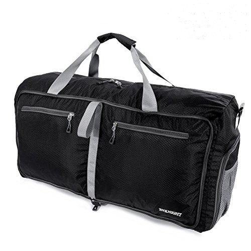 ENKNIGHT 55L Travel Waterproof Foldable Duffel Bag Luggage Bag Sports Gym Bag Black