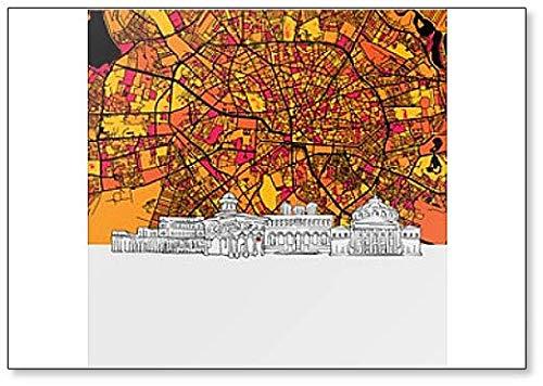 Imán para nevera con diseño de mapa de Bucharest, Rumania, Skyline y Classic