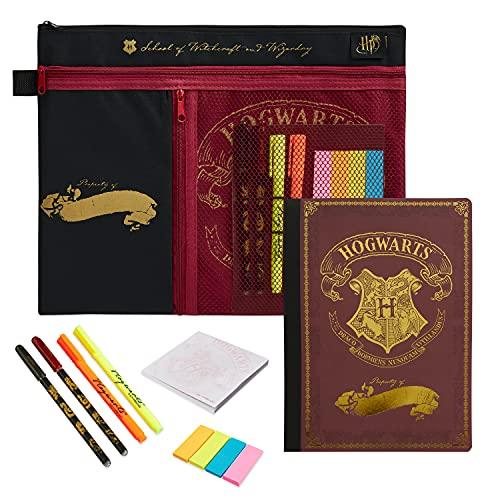 HARRY POTTER Regalos, Set de Papeleria Bonita con Cuaderno A5, Bolígrafos y Subrayadores en un Estuche Escolar